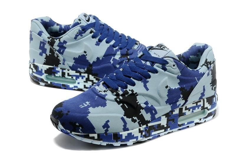 wholesale dealer 06ad4 58dda ... Mens Nike Air Max 1 France SP Running Shoes Digital Camouflage Blue  Black ...