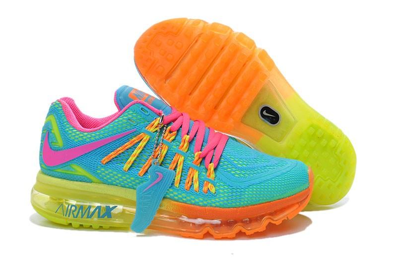 timeless design e9c5a 61972 ... Nike Air Max 2015 Honeycomb KPU Womens Shoes Light Blue Fluorescent  Yellow Orange Pink ...