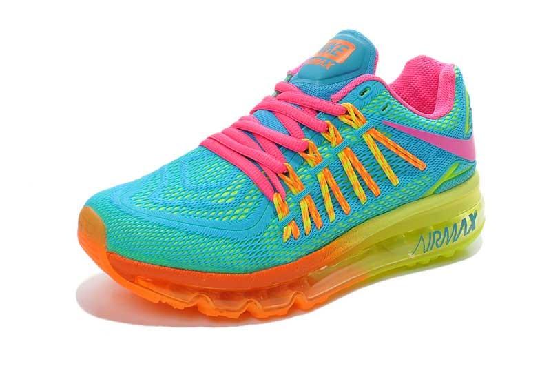 timeless design bf014 078a8 ... Nike Air Max 2015 Honeycomb KPU Womens Shoes Light Blue Fluorescent  Yellow Orange Pink ...