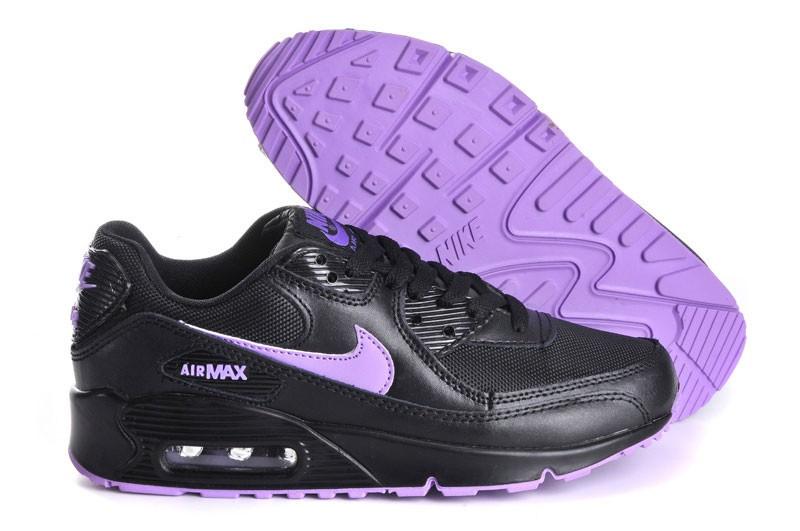 sale retailer aa6bd b2bf4 Nike Air Max 90 Leather Womens Shoes Black Purple