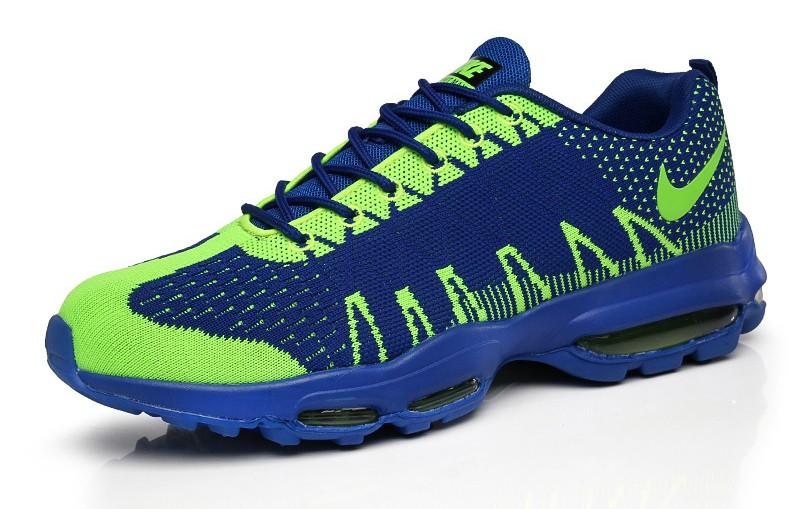 timeless design 603f7 523e4 ... Nike Air Max 95 Ultra Jacquard Flyknit Mens Shoes Blue Lime 749771-314  ...